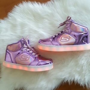 Sketchers Energy Lights purple high top sneakers